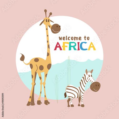 African cartoon animals. Poster