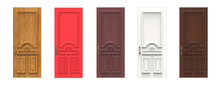 Set Of Various Wooden Doors. 3d Illustration Isolated On White Background