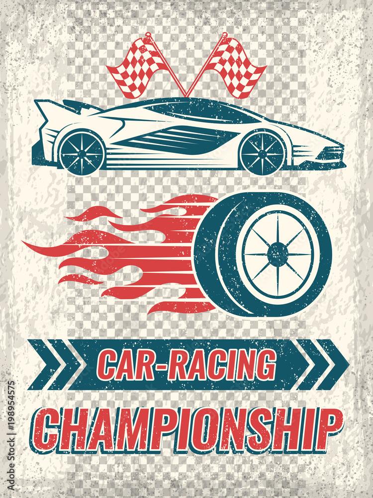 Sztuka plakatu z samochodów wyścigowych. Szablon wektor z miejscem na tekst
