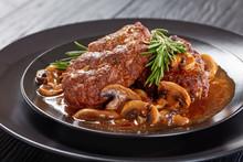 Close-up Of Portion Salisbury Beef Steaks
