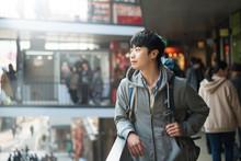 Young Man Traveling In Korea, Seoul Street