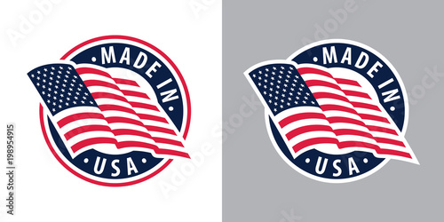 Obraz Made in USA (United States of America). Composition with American flag for badge, label, pin, etc. Variants for light and dark backgrounds. - fototapety do salonu