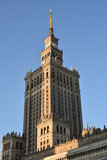 Palace of Culture and Science in sunset light with shadows of other highrises, Warsaw city, Poland, landmark from communist era. - 198955548