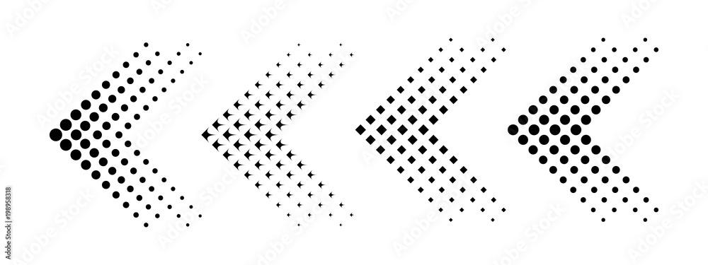 Fototapeta Set of arrows with halftone effect. Vector illustration
