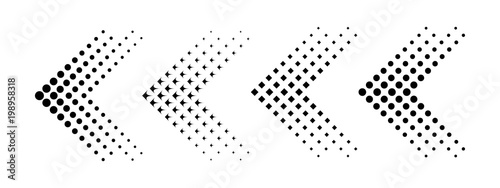 Set of arrows with halftone effect. Vector illustration Canvas Print