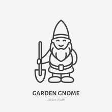 Smiling Garden Gnome Flat, Dwarf Line Icon. Thin Linear Logo For Gardening Store.