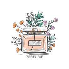 Beautiful Perfume Bottle In Vector