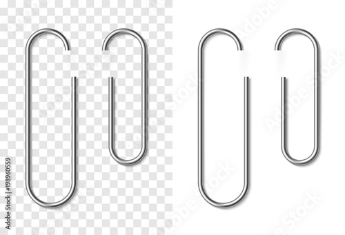 Photo  Set of silver metallic realistic paper clip