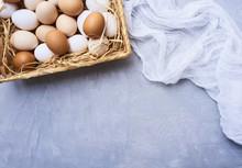 Fresh Eggs Over Background