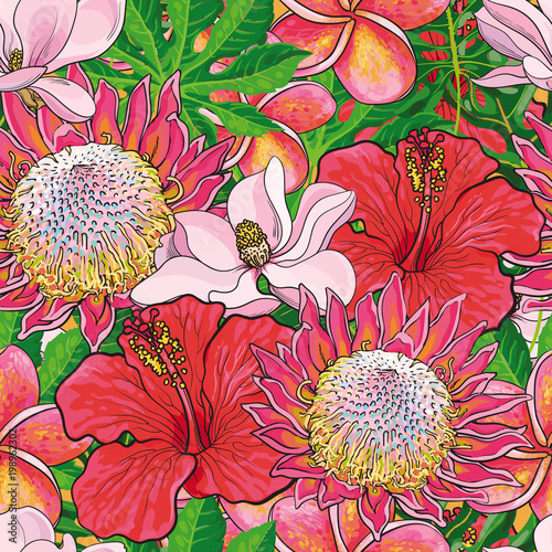 Tapeta do sypialni  tropical-flowers-seamless-pattern-with-hand-drawn-exotic-blooms-of-hibiscus-protea-magnolia