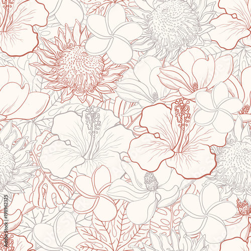 tropical-flowers-seamless-pattern-with-white-hand-drawn-exotic-blooms-of-hibiscus-protea-magnolia-and-plumeria-and-palm-leaves-with-colorful-line-contour-floral-vector-illustration-in-sketch-style