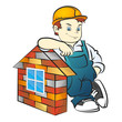 Builder and brick house vector
