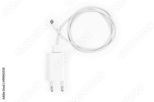 Fotografie, Obraz Cable phone chargers isolated on a white background