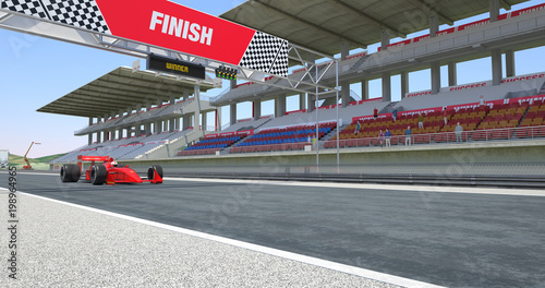 Fotografiet  Red Racing Car Crossing Finish Line On Racing Track - High Quality 3D Rendering