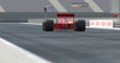 Red Racing Car Crossing Finish Line And Winning The Race - High Quality 3D Rendering With Camera Depth Of Field