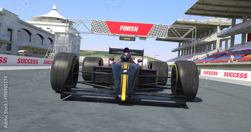 Foto op Plexiglas Motorsport Racing Car Crossing Finish Line And Winning The Race - High Quality 3D Rendering With Environment