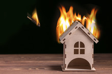 House Fire Concept. Toy House ...