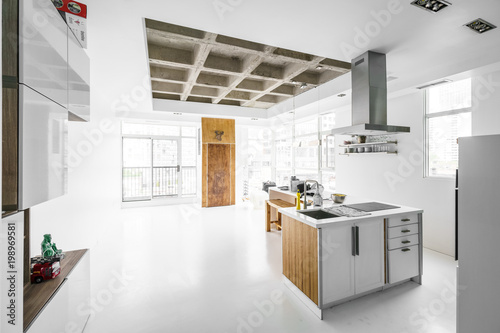 Interior of kitchen with unfinished ceiling - Buy this stock ...