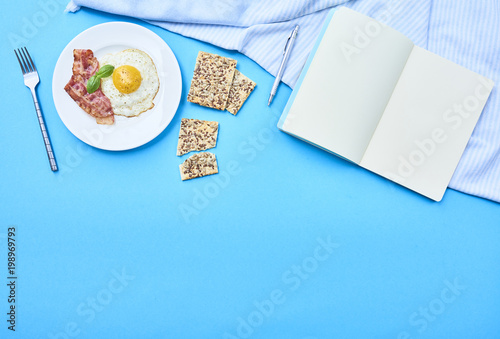 Aluminium Prints Assortment tastu fried egg in plate with bacon