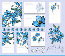 Forget Me Not Set With Visitcards And Greeting Templates