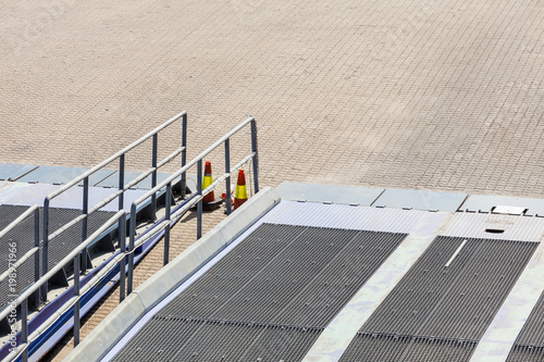 Detail view of ferry boat ramp - Buy this stock photo and explore