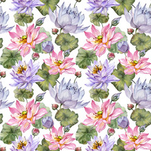 Large Pink And Purple Lotus Flowers With Leaves On White Background. Beautiful Floral Seamless Pattern. Hand Drawn Botanical Illustration. Watercolor Painting.
