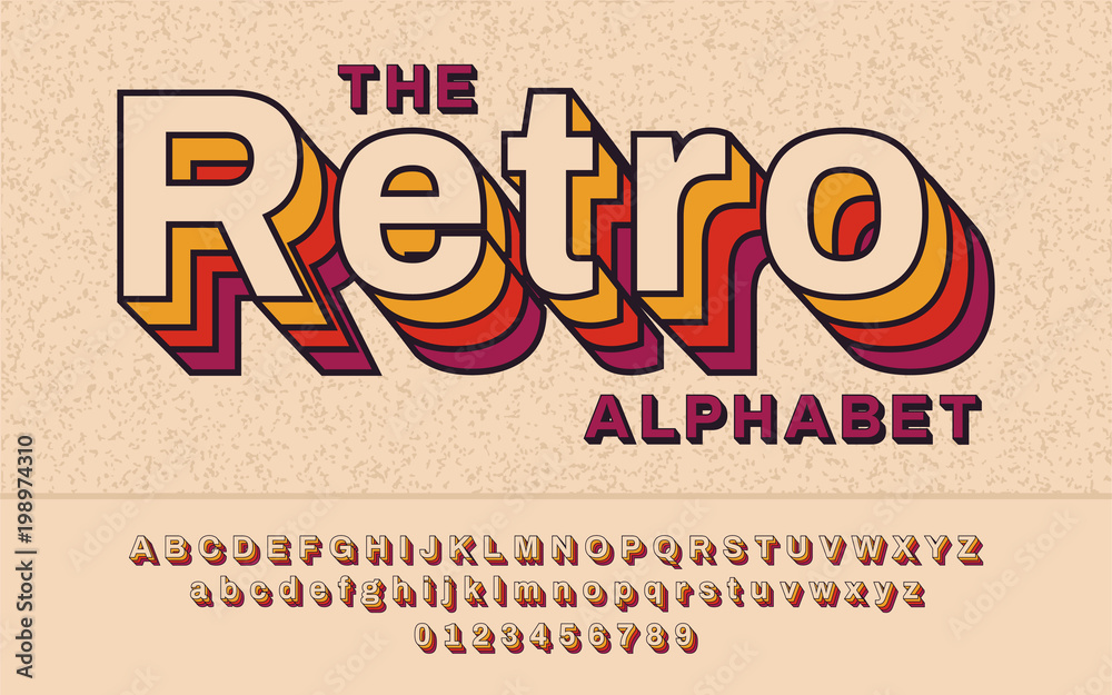 Fototapety, obrazy: Retro Font 90's, 80's. With VHS effect, Vector abc alphabet