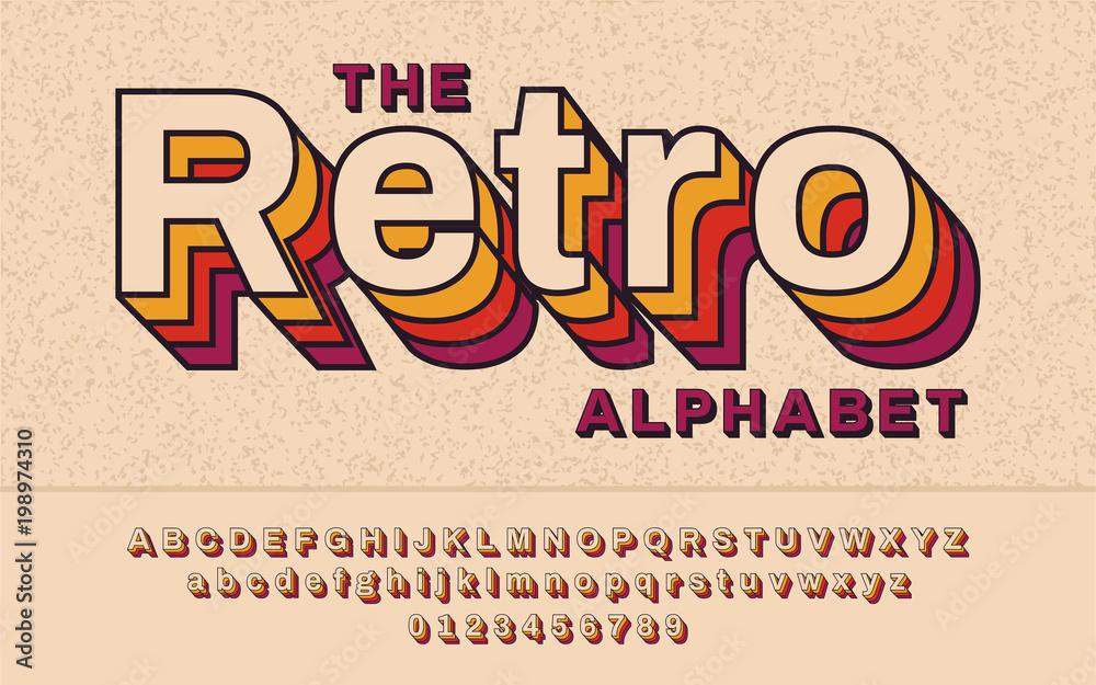 Fototapeta Retro Font 90's, 80's. With VHS effect, Vector abc alphabet