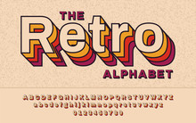 Retro Font 90's, 80's. With VHS Effect, Vector Abc Alphabet