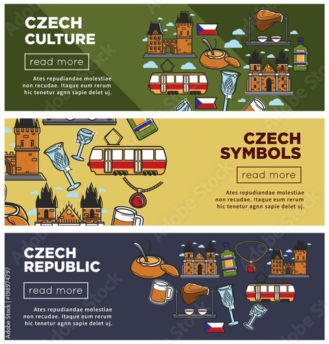 Photo  Czech Republic culture and symbols Internet web banners set