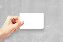 Man Holding Empty Business Card