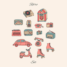 Vector Retro Set With Antique ...