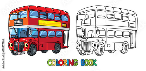 Photo  Funny small London bus with eyes. Coloring book
