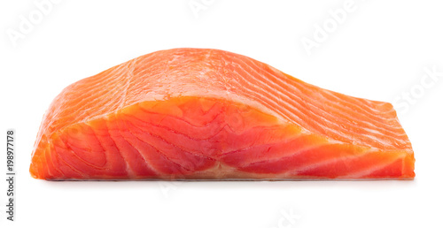 smoked salmon fillet isolated on white background Fototapet