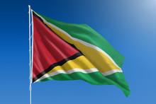 Guyana Flag And Blue Sky