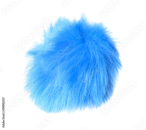 Abstract blue fur ball isolated on white background Wall mural