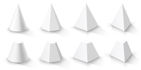 White cone and set of pyramids