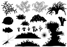 Corals And Underwater Fauna - Various Tropical Fish, Sponges, Shrimp And Urchin. Set Of Vector Silhouettes.