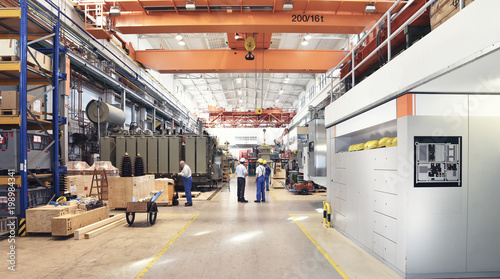 Photo  industrial factory in mechanical engineering for the manufacture of transformers