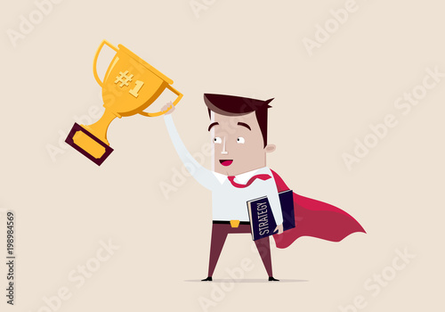 Fotografía Super businessman winner with cup for first place