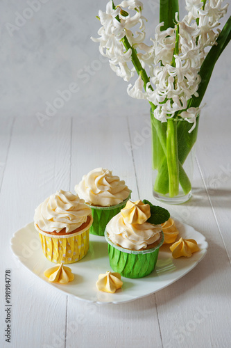 Sweet Romantic Breakfast With Bouquet Fresh Spring Flowers