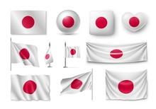 Set Japan Flags, Banners, Bann...