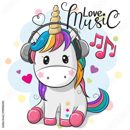 Plakaty do pokoju dziecka unicorn-with-headphones-on-a-blue-background