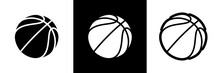 Basketball Logo Set Of Vector Icon For Streetball Championship Tournament, School Or College Team League. Vector Flat Basket Ball Symbol For Basketball Fan Club