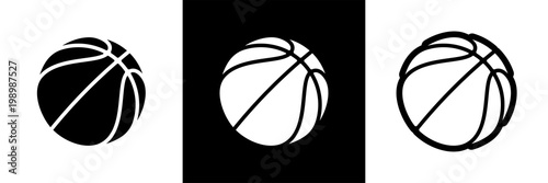 Photo  Basketball logo set of vector icon for streetball championship tournament, school or college team league