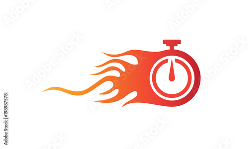 Cuadros en Lienzo Illustration of the symbol vector of fast service with a flaming clock symbolize