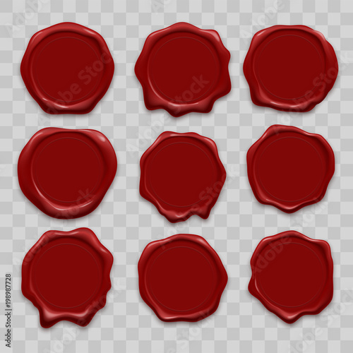 Stamp wax seal vector icons set of red sealing wax old realistic stamps labels Fototapeta