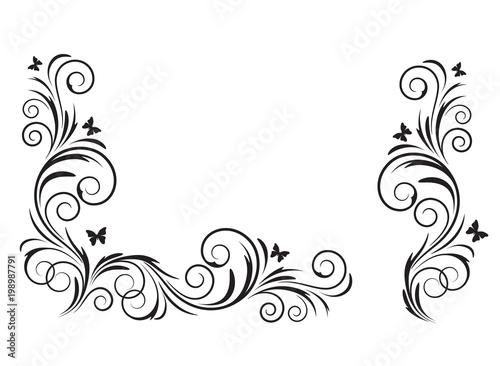 Fotografie, Obraz  Decorative black floral element and corner, stencils.