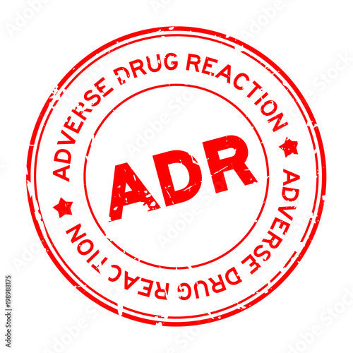 Grunge red ADR (Abbreviation of Adverse Drug Reaction) round rubber seal stamp o Canvas Print