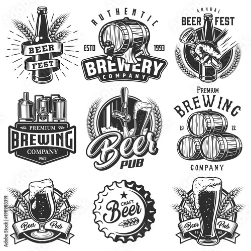 Set emblems with beer objects Wallpaper Mural